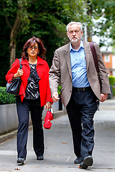 **FILE PICTURE - Monday December 21 marks 100 days since Jeremy Corbyn became leader of the Labour Party** © Licensed to London News Pictures. 27/08/2015. London, UK. Labour Party leader candidate Jeremy Corbyn and his wife Laura Alvarez attending a husting hosted by Daily Mirror at DoubleTree Hilton Hotel in London on Thursday, August 27, 2015. Photo credit: Tolga Akmen/LNP