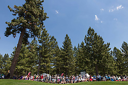 July 15, 2018 - Stateline, Nevada, U.S - Spectators line the 17th hole during the 29th annual American Century Championship at the Edgewood Tahoe Golf Course in Stateline, Nevada, on Sunday, July 15, 2018. (Credit Image: © Tracy Barbutes via ZUMA Wire)