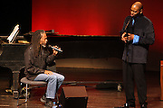 l to r: Bobby McFerrin and Stephen Salters at Tribute to Robert McFerrin presented by The New York City Opera and The Schomburg Center for Research in Black Culture on March 6, 2010 in Harlem, New York City. Terrence Jennings/Retna, Ltd