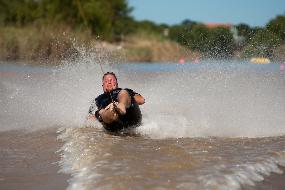 Clinton Kumm during the Free State Interprovincial barefoot skiing competition, South Africa.