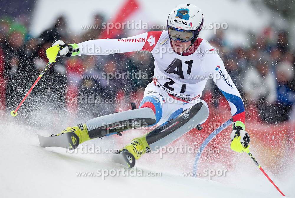 25.01.2015, Streif, Kitzbuehel, AUT, FIS Ski Weltcup, Slalom, Herren, 1. Lauf, im Bild Daniel Yule (SUI) // Daniel Yule of Switzerland in action during 1st run of the men's Slalom of Kitzbuehel FIS Ski Alpine World Cup at the Streif Course in Kitzbuehel, Austria on 2015/01/25. EXPA Pictures © 2015, PhotoCredit: EXPA/ Johann Groder