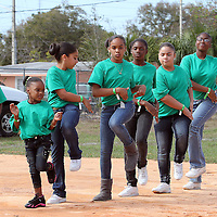 Dance steppers perform at an event at the Boys & Girls Club of Central Florida on Saturday, Feb. 25, 2012 in Orlando, Florida. The LeBron James Family Foundation and Sprite donated sporting equipment and introduced a new baseball diamond, renovated play area and a picnic area.  (AP Photo/Alex Menendez)