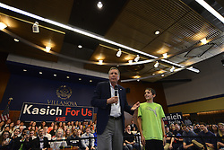 OH Gov. and Republican presidential candidate JOHN KASICH answers a question from audience member JACK SHAPIRO during a March 16 town hall meeting at Villanova University in the suburbs of Philadelphia, PA., USA.