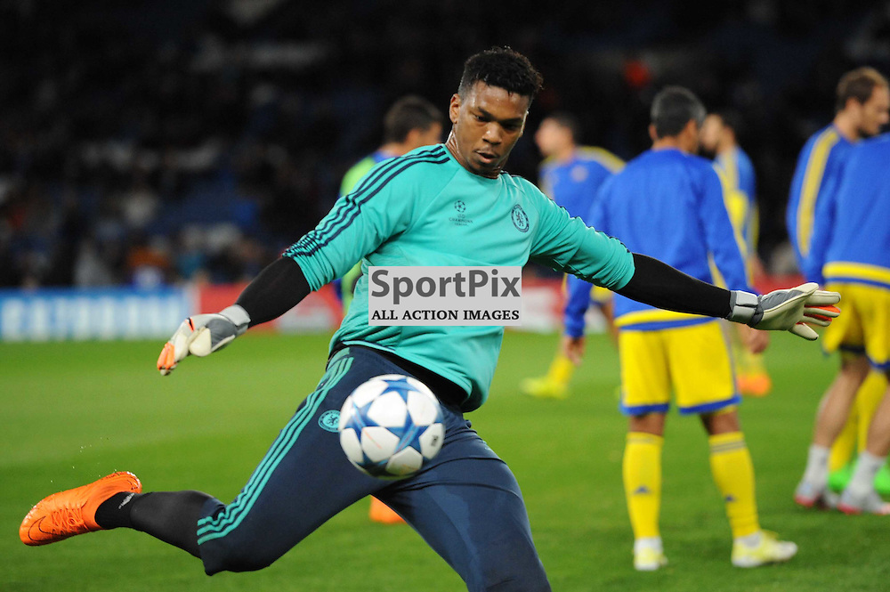 Chelseas Jamal Blackman during the warm up for the Chelsea v Maccabi Tell-Aviv champions league match in the group stage.