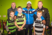 Forest Green Rovers Reece Brown(10) with match sponsors during the The FA Cup match between Forest Green Rovers and Exeter City at the New Lawn, Forest Green, United Kingdom on 2 December 2017. Photo by Shane Healey.
