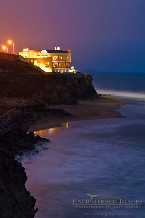 The Cliff House above the Sutro Bath ruins and Ocean Beach, San Francisco, California