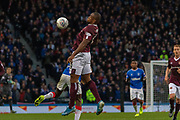 Uche Ikpeazu of Hearts controls the ball on his chest during the Betfred Scottish League Cup semi-final match between Rangers and Heart of Midlothian at Hampden Park, Glasgow, United Kingdom on 3 November 2019.