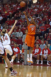 28 March 2010: Lacey Simpson takes a shot from just inside the three point line before Amanda Clifton can arrive to defend. The Redbirds of Illinois State squeak past the Illini of Illinois 53-51 in the 4th round of the 2010 Women's National Invitational Tournament (WNIT) on Doug Collins Court inside Redbird Arena at Normal Illinois.