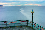 Grade 1 listed Clevedon Pier in the Severn Estuary at Clevedon in Somerset, United Kingdom