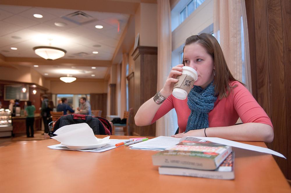 Day in the life of Baker Center...Nadia Kogeler, Chai Tea, Graduate Student Recd Studies, works on Presentation