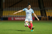 Demi Stokes (England) (Manchester City) crosses the ball into the penalty box during the Women's International Friendly match between England Ladies and Italy Women at Vale Park, Burslem, England on 7 April 2017. Photo by Mark P Doherty.