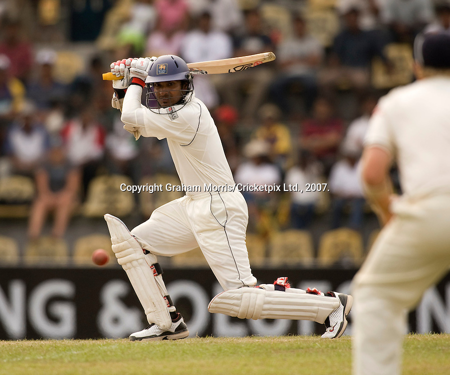Kumar Sangakkara on the way to his fourth consecutive Test 150 during the first Test Match between Sri Lanka and England at the Asgiriya Stadium, Kandy. Photograph © Graham Morris/cricketpix.com (Tel: +44 (0)20 8969 4192; Email: sales@cricketpix.com)