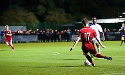 NEWPORT, WALES - Thursday, September 25, 2014: Wales' Liam Cullen scores the first goal against France during the Under-16's International Friendly match at Dragon Park. (Pic by David Rawcliffe/Propaganda)