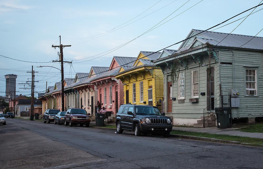 June 12, 2015, New Orleans, LA, renovated shotgun homes in mid-city.