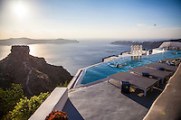 Infinity pool overlooking the caldera, Imerovigli, Santorini, Greece