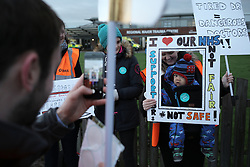 © Under licence to London News Pictures. 12/01/2016 Junior doctors picket the entrance to James Cook University Hospital in Middlesbrough UK January 12th 2016 as part of the first in a series of one day strikes. Photo Credit: Stuart Boulton/LNP