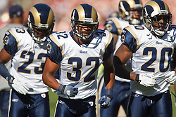 November 14, 2010; San Francisco, CA, USA;  St. Louis Rams cornerback Bradley Fletcher (32) and cornerback Jerome Murphy (23) and safety Darian Stewart (20) enter the field before the game against the San Francisco 49ers at Candlestick Park. San Francisco defeated St. Louis 23-20 in overtime.