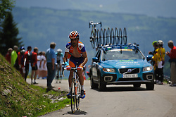 A Rabobank rider on the top of the Col de la Joux Plane during stage 6 of the Criterium du Dauphine. Photo by Simon Parker/SPactionimages