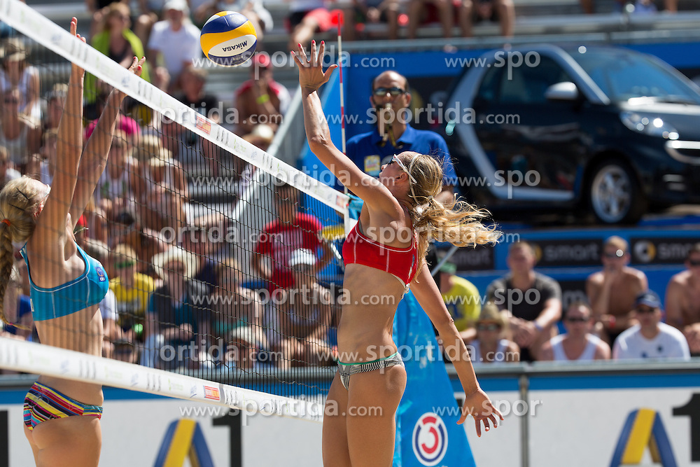 30.07.2013, Klagenfurt, Strandbad, AUT, A1 Beachvolleyball EM 2013, in photo Evgenia Ukolova of Russia during the A1 Beachvolleyball European Championship at the Strandbad Klagenfurt, Austria on 20130730. (Photo by Matic Klansek Velej / Sportida)