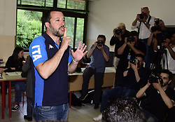 May 26, 2019 - Milan, italy - European elections 2019 Interior Minister Matteo Salvini to vote (Credit Image: © Simona Chioccia/IPA via ZUMA Press)