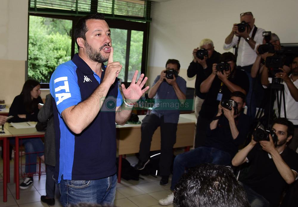 May 26, 2019 - Milan, italy - European elections 2019 Interior Minister Matteo Salvini to vote (Credit Image: © Simona Chioccia/IPA via ZUMA Press)