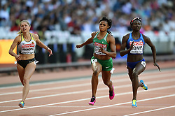 Gina Luckenkemper of Germany, Blessing Okagbare-Ighoteguonor of Nigeria and Tori Bowie of the USA in action - Mandatory byline: Patrick Khachfe/JMP - 07966 386802 - 06/08/2017 - ATHLETICS - London Stadium - London, England - Women's 100m Semi Final - IAAF World Championships