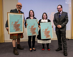 Pictured: Stewart Bremner, who helped devloip the map; presented maps to teachers Emma Mackie (Robert Douglas Memorial Primary School), Kerry Fraser (Perth High School) with Dr Michael Dempster, Director of the Scots Langauge Centre.<br />