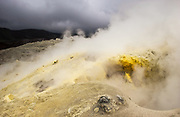 Mina de Azufre (Sulphur fulmeroles)<br /> inside crater of Sierra Negr&aacute; Volcano (second largest volcanic crater in the world)<br /> Isabela Island<br /> Galapagos Islands<br /> ECUADOR.  South America