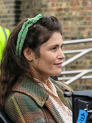 © Licensed to London News Pictures. 26/10/2018. Kent, UK. British actress Gemma Arterton filming for a new film Summerlands. Parts of North Kent were transformed in to a Second World War scene for the filming. Photo credit: Graham Long/LNP