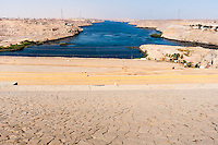 Egypt. The Aswan Dam is an embankment dam situated across the Nile River.