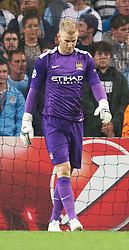 02.10.2013, Etihad Stadion, Manchester, ENG, UEFA Champions League, Manchester City vs FC Bayern Muenchen, Gruppe D, im Bild Manchester City's goalkeeper Joe Hart looks dejected after Bayern Munich scores third goal during the UEFA Champions League Group D match between Manchester City vs FC Bayern Munich at the Etihad Stadium, Manchester, Great Britain on 2013/10/02. EXPA Pictures © 2013, PhotoCredit: EXPA/ Propagandaphoto/ David Rawcliffe<br /> <br /> ***** ATTENTION - OUT OF ENG, GBR, UK *****