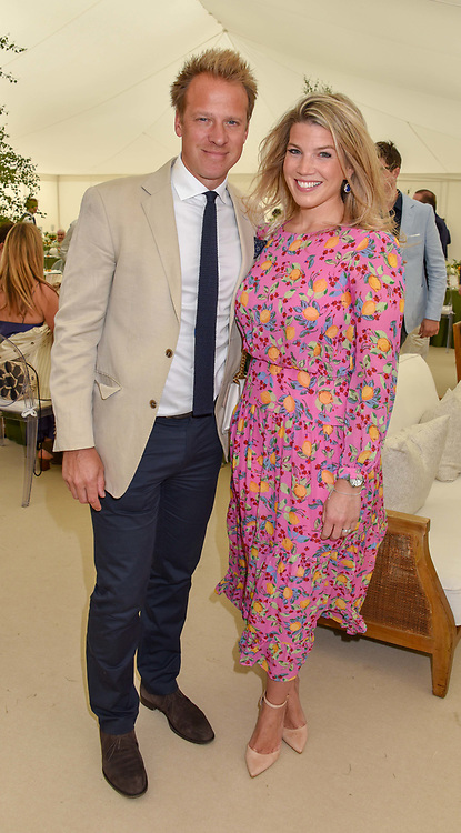 Chris Jackson and Natasha Archer at the Cartier Queen's Cup Polo 2019 held at Guards Polo Club, Windsor, Berkshire. UK 16 June 2019. <br /> <br /> Photo by Dominic O'Neill/Desmond O'Neill Features Ltd.  +44(0)7092 235465  www.donfeatures.com