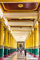 YANGON, MYANMAR - DECEMBER 16, 2016 : hall entrance of the Shwedagon Pagoda at Yangon (Rangoon) in Myanmar (Burma)
