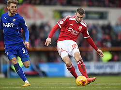 Swindon Town's Andy Williams scores in the opening minutes of the second half in the Sky Bet League One match between Swindon Town and Chesterfield at The County Ground on January 17, 2015 in Swindon, England. - Photo mandatory by-line: Paul Knight/JMP - Mobile: 07966 386802 - 17/01/2015 - SPORT - Football - Swindon - The County Ground - Swindon Town v Chesterfield - Sky Bet League One