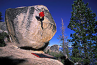 Chris McNamara bouldering at DL Bliss State Park; Lake Tahoe, CA.<br />