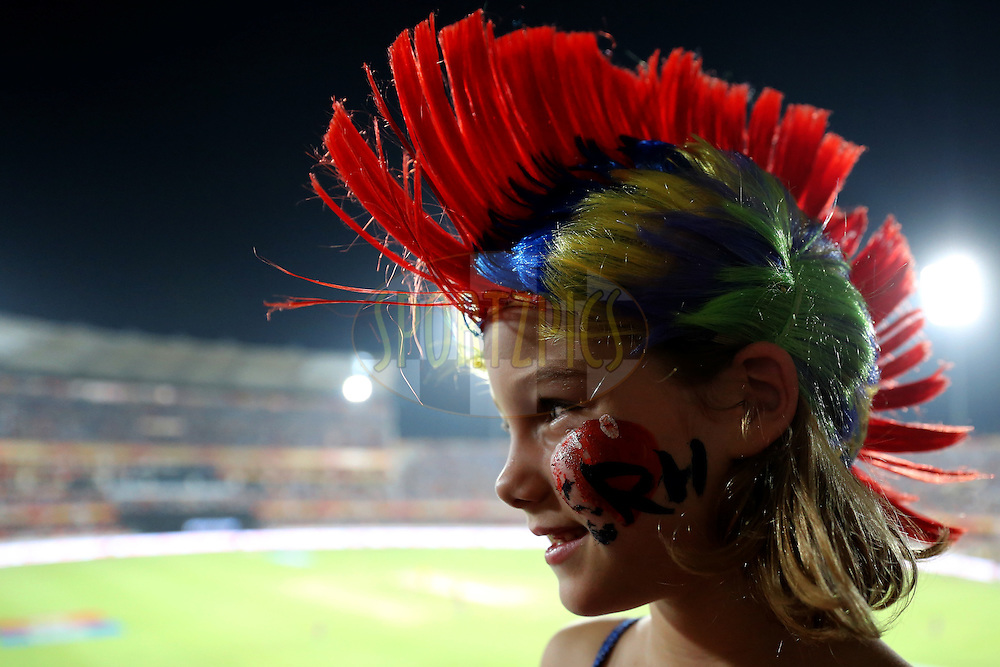 A kid during match 42 of the Vivo IPL 2016 (Indian Premier League ) between the Sunrisers Hyderabad and the Delhi Daredevils held at the Rajiv Gandhi Intl. Cricket Stadium, Hyderabad on the 12th May 2016<br /> <br /> Photo by Faheem Hussain / IPL/ SPORTZPICS