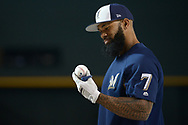 PHOENIX, AZ - JUNE 09:  Eric Thames #7 of the Milwaukee Brewers looks down at a baseball during batting practice prior to the MLB game against the Arizona Diamondbacks at Chase Field on June 9, 2017 in Phoenix, Arizona. The Milwaukee Brewers won 8-6.  (Photo by Jennifer Stewart/Getty Images)