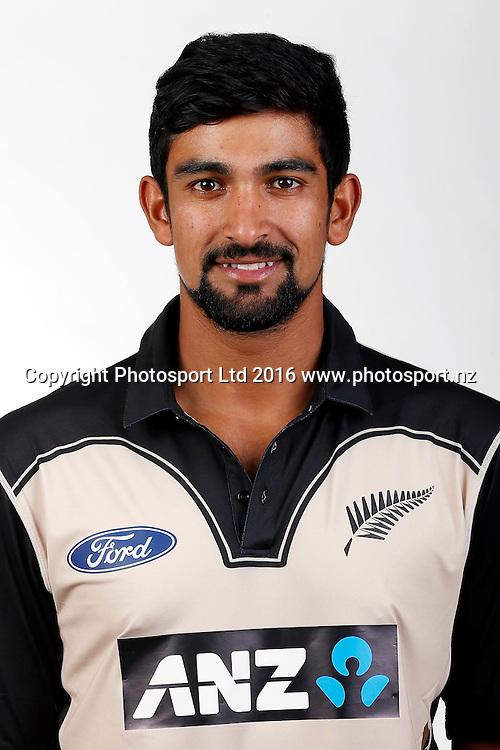 Ish Sodhi, New Zealand Black Caps T20 headshots for the 2016/17 cricket season. Pullman Hotel, Auckland. 9 November 2016. Copyright Image: William Booth / www.photosport.nz