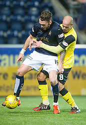 Falkirk's Lee Miller and Livingston's da Encarnação Pires Faria. Falkirk 2 v 0 Livingston, Scottish Championship game played 29/12/2015 at The Falkirk Stadium.