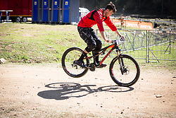 Brendan Fairclough testing his Shimano Saint brakes and suspension setup prior to the 2014 UCI Mountainbike World Cup at Pietermaritzburg, South Africa.