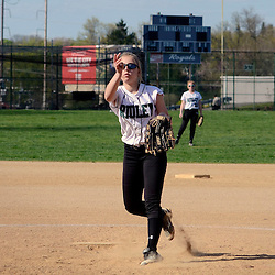 Staff photos by Tom Kelly IV<br /> Ridley pitcher L.A. Jenkins (4) throws a pitch during the Ridley at Upper Darby softball game on Wednesday.
