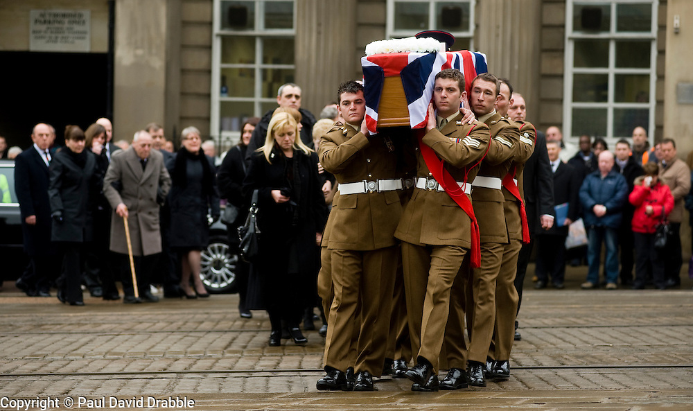 "Followed by corporal Rileys family including his mother Cheryl Routlidge  and Brother Jonathan Riley a barer party made up of Soldiers from The Yorkshire Regiment carry Corporal Liam Rileys coffin into Sheffield Cathedral where his Funeral service took place on Wednesday 24 February.   ..Corporal Riley of 3rd Battalion Yorkshire Regiment who died in an explosion in Afghanistan on 1 February 2010 while on foot patrol south of the Kings Hill check point Helmand. ..Upon hearing of Liam's death he was described by Price Harry as ""a legend"""