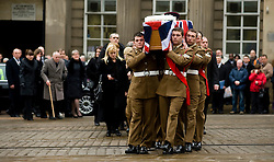 """Followed by corporal Rileys family including his mother Cheryl Routlidge  and Brother Jonathan Riley a barer party made up of Soldiers from The Yorkshire Regiment carry Corporal Liam Rileys coffin into Sheffield Cathedral where his Funeral service took place on Wednesday 24 February.   ..Corporal Riley of 3rd Battalion Yorkshire Regiment who died in an explosion in Afghanistan on 1 February 2010 while on foot patrol south of the Kings Hill check point Helmand. ..Upon hearing of Liam's death he was described by Price Harry as """"a legend"""""""