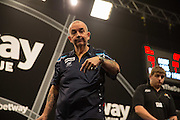 Phil Taylor in the Phil Taylor v James Wade match at the Betway Premier League Darts,  Brighton Centre, Brighton & Hove, United Kingdom on 14 May 2015. Photo by Phil Duncan.
