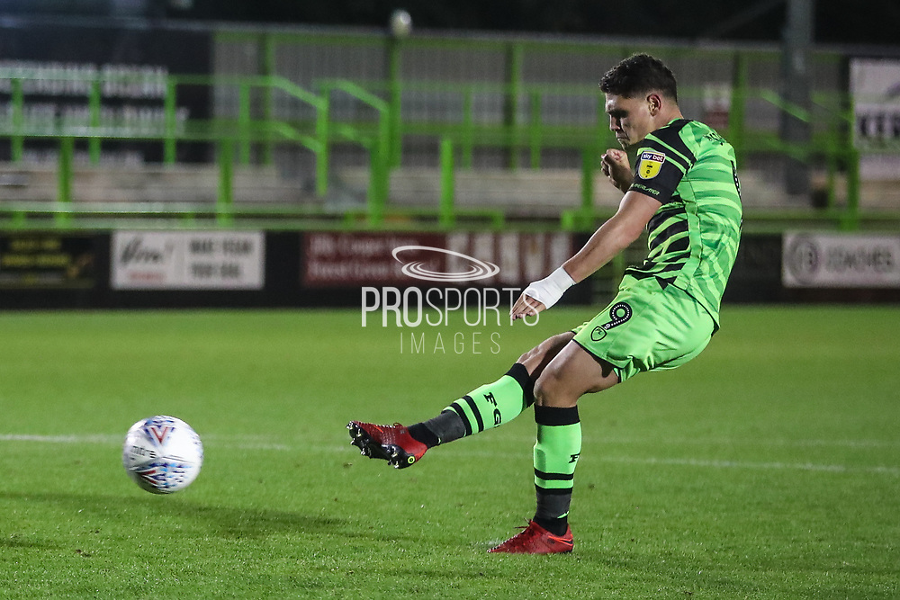 Forest Green Rovers Matty Stevens(9) takes a penalty and and scores during the Leasing.com EFL Trophy match between Forest Green Rovers and Coventry City at the New Lawn, Forest Green, United Kingdom on 8 October 2019.