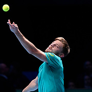 19.11.2017 Nitto ATP World Tour Finals at O2 Arena London UK FINAL Gregor Dimitrov BUL  v David Goffin  Goffin in action during the match Dimitrov won in 3 sets