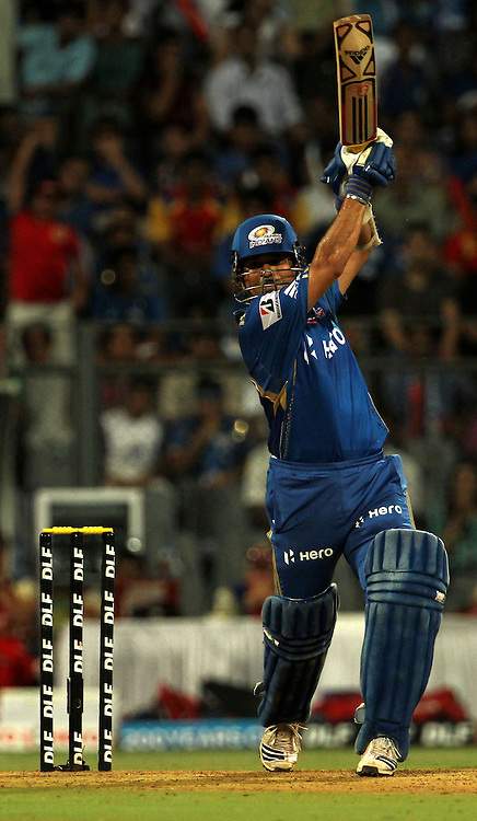 Mumbai Indian player Sachin Tendulkar plays a shot during match 54 of the Indian Premier League ( IPL) 2012  between The Mumbai Indians and the Royal Challengers Banglore held at the Wankhede Stadium in Mumbai on the 9th May 2012..Photo by Vipin Pawar/IPL/SPORTZPICS.