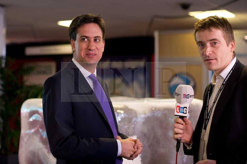 © London News Pictures. 25/09/2013 . Brighton, UK. Labour Party Leader ED MILIBAND giving an interview to LBC Radio at The Brighton Centre the morning after delivering his Keynote speech at the Labour Party Conference. Photo credit : Ben Cawthra/LNP