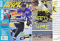 1995: November Roller Hockey Magazine tearsheet. Story is about the first eve roller hockey rink outdoors at the beach.  Pro Beach Roller Hockey Tournament in Hermosa Beach, CA. Team LA captured the crown 3-1 over team Phoenix.   Goaltender Don Thomson in net.