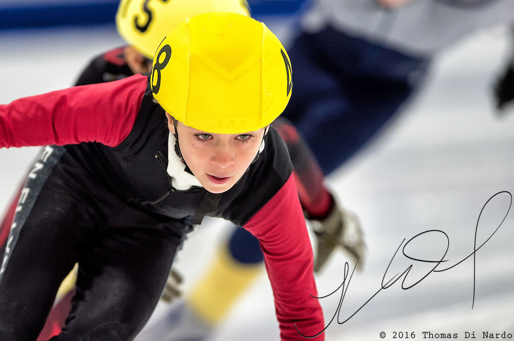 March 20, 2016 - Verona, WI - Henrik Naess, skater number 48 competes in US Speedskating Short Track Age Group Nationals and AmCup Final held at the Verona Ice Arena.